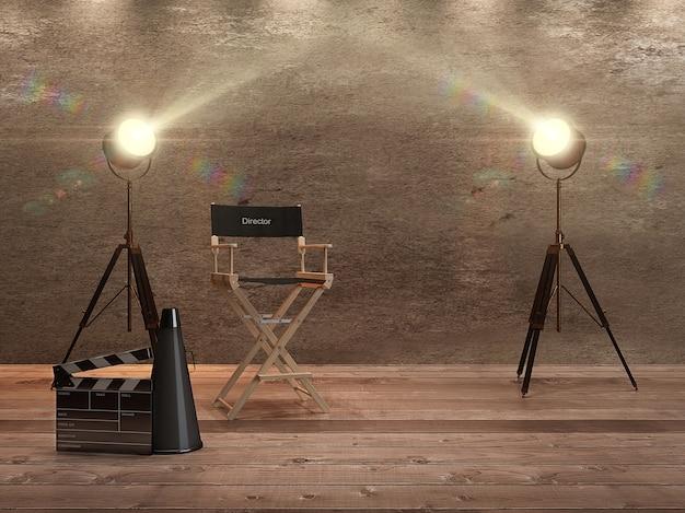 Krzesło reżysera z błyszczącymi megafonami i reflektorami. renderowania 3d