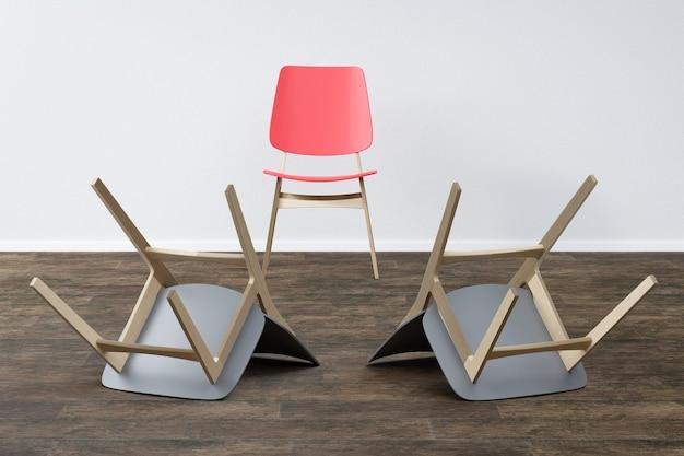 Krzesło w pustym pokoju koncepcja minimalizmu