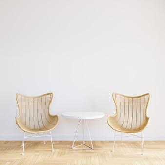 Krzesło z drewna w białym wnętrzu salonu z pustym stołem do makiety