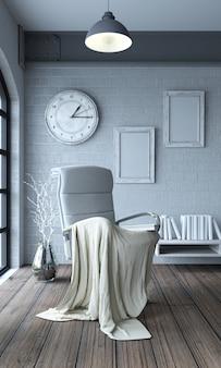 Krzesło z kocem i gigantyczny zegar