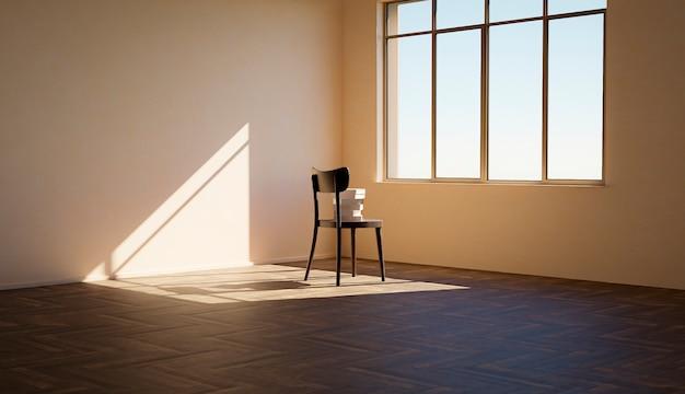 Krzesło z książkami na nim przed oknem w pustym, nasłonecznionym pokoju z ostrymi cieniami. renderowania 3d