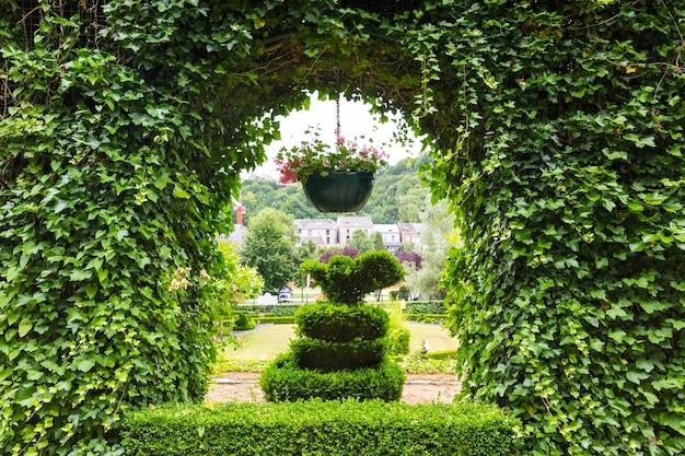 Krzewy strzyżone w różnych formach, park letni w europie. profesjonalne ogrodnictwo, europejski zielony krajobraz, dekoracja roślin ogrodowych