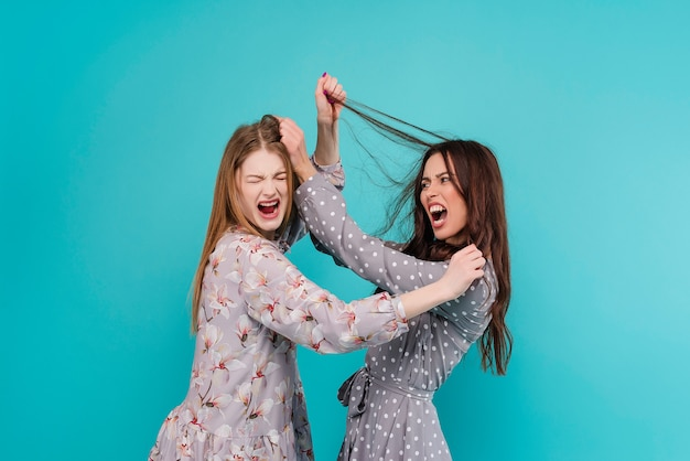 Krzyczące kobiety walczą ze sobą i ciągną włosy