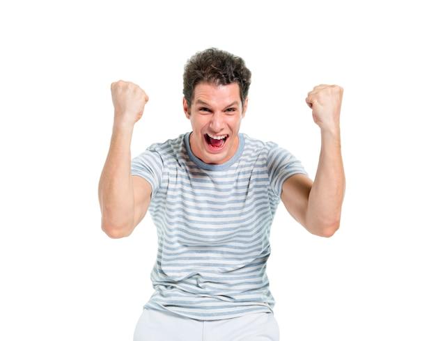 Krzyczy przypadkowy mężczyzna świętuje zwycięstwo