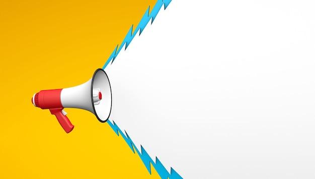 Krzyk z megafonu w postaci błyskawicy czerwony megafon na żółtym tle szablon