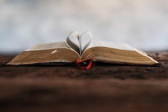 Książki biblijne i serce.