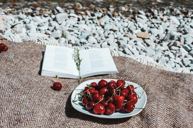 Książka na kratę z talerzem świeżych wiśni na wybrzeżu rzeki