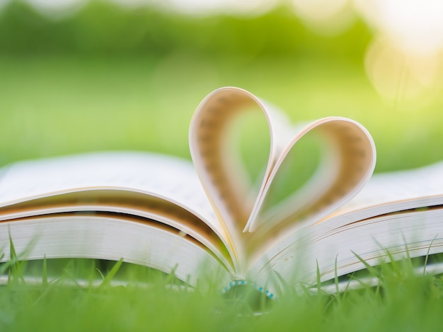 Książka na stole w ogrodzie z górą otwarta i strony tworzące kształt serca