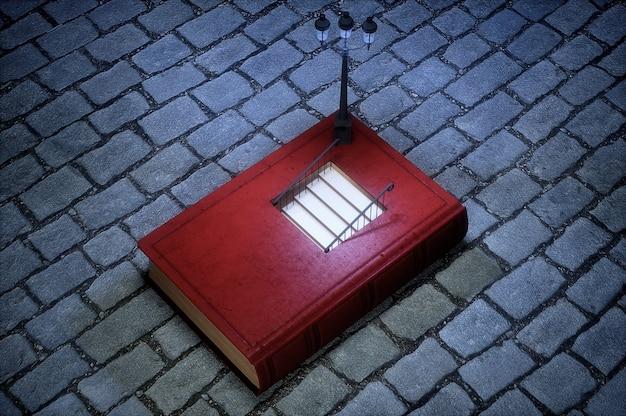 Książka ze schodami wewnątrz koncepcji. wysokiej jakości renderowanie 3d