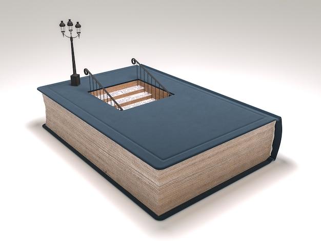 Książka ze schodami wewnątrz koncepcji. wysokiej jakości renderowanie