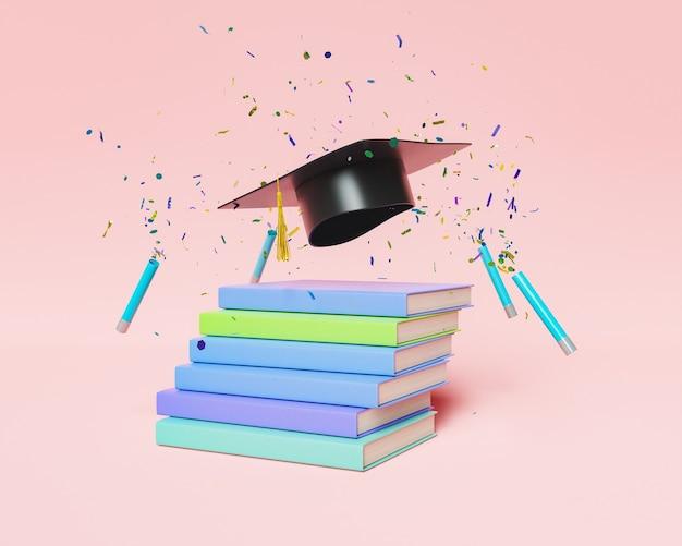 Książki i czapka dyplomowa z konfetti