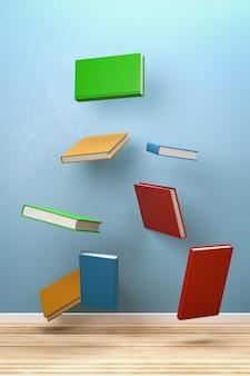 Książki latające w pokoju na białym tle