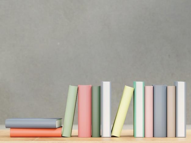 Książki na drewnianym stole, z powrotem szkoły pojęcia 3d rendering