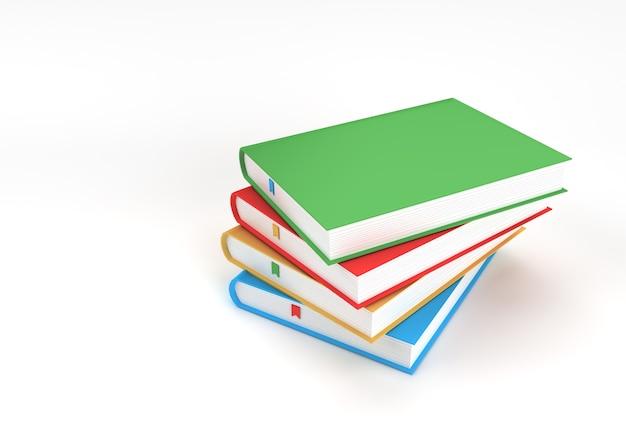 Książki renderowania 3d stos książki obejmuje kolorowe zakładki podręcznika design.