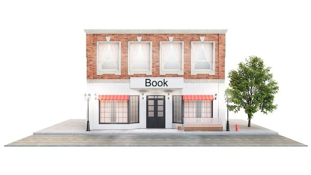 Księgarnia lub biblioteka. na zewnątrz budynku przy drodze.