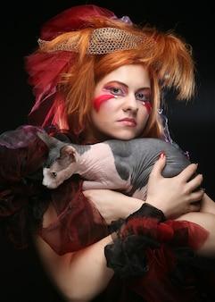 Księżniczka yong z kotem. kreatywny makijaż fantasy.