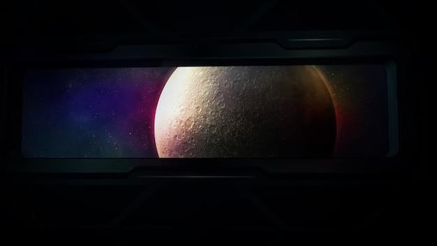 Księżyc jest widoczny w iluminatorze statku kosmicznego.