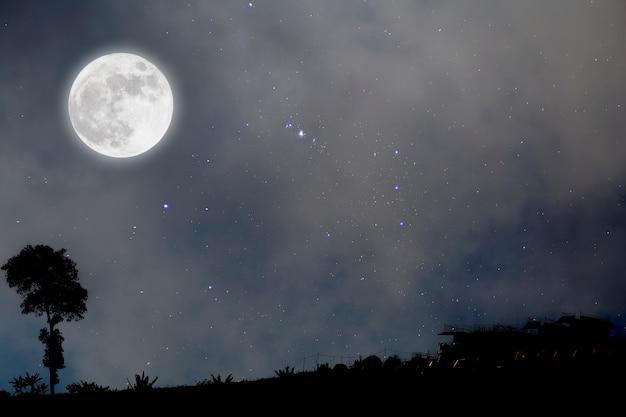 Księżyc w pełni w gwiaździstą noc nad wioską.