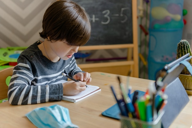 Kształcenie na odległość dla dzieci podczas epidemii koronawirusa. chłopiec siedzi przy stole i wykonuje zadania nauczyciela w internecie.