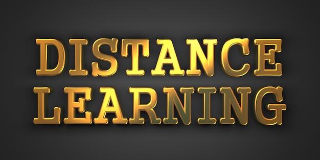 Kształcenie na odległość - koncepcja biznesowa. złoty tekst. renderowanie 3d.