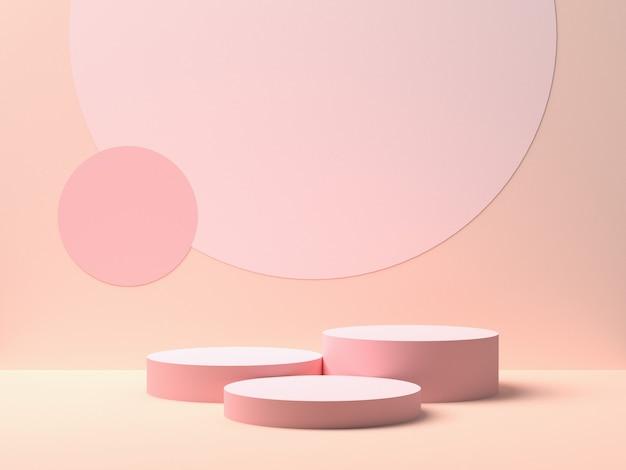 Kształt abstrakcyjnej geometrii. różowe podium na różowym tle dla produktu. minimalna koncepcja. renderowanie 3d