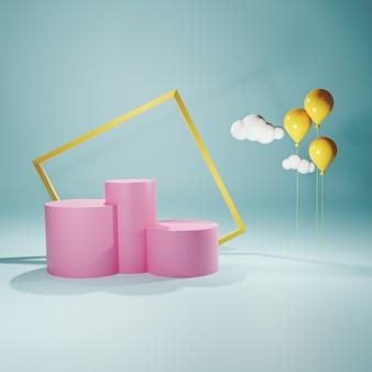 Kształt abstrakcyjnej geometrii. różowe podium w pastelowych kolorach. renderowania 3d dla produktu. minimalna koncepcja.