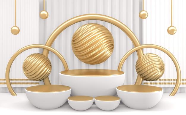 Kształt cylindra białe podium o minimalistycznym designie. renderowanie 3d
