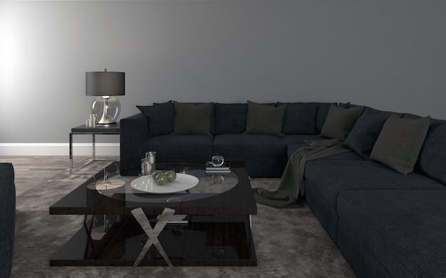 Kształt czarna sofa realistyczna makieta 3d renderowanego wnętrza nowoczesnego salonu