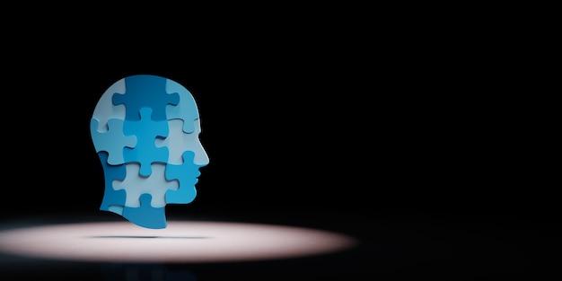 Kształt głowy człowieka puzzle w centrum uwagi na białym tle