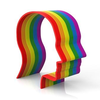 Kształt głowy mężczyzny z tęczową flagą, która symbolizuje dumę gejowską i różnorodność