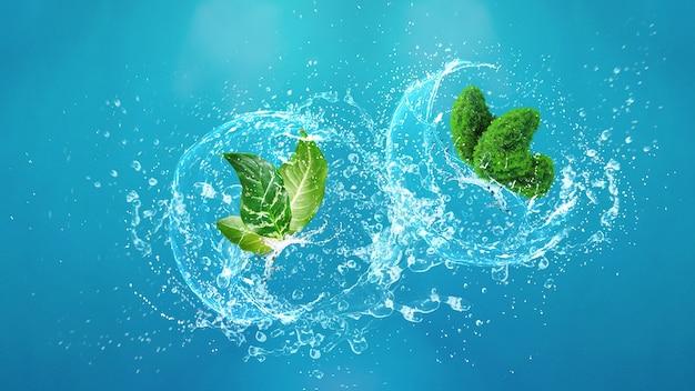Kształt liści motyla na tle świeżej wody plusk