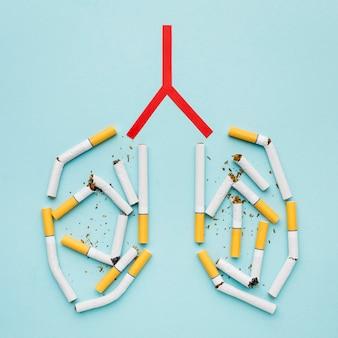 Kształt płuc z papierosami