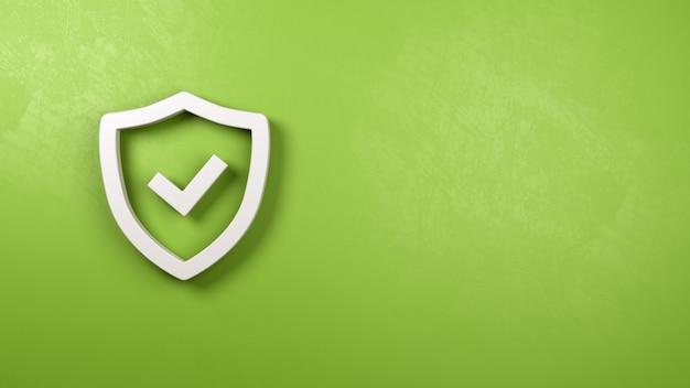 Kształt symbolu tarczy na zielonej otynkowanej ścianie