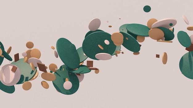 Kształty okręgów latające twarde światło streszczenie ilustracji d renderowania