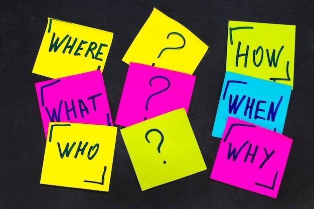Kto, dlaczego, jak, co, kiedy i gdzie pytania - niepewność, burza mózgów czy koncepcja podejmowania decyzji, zestaw kolorowych karteczek samoprzylepnych na tle tablicy.
