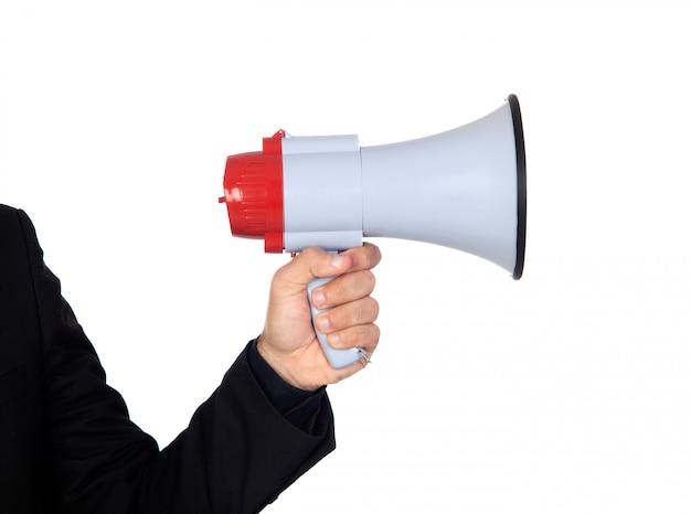 Ktoś z megafonem dla obwieszczać coś odizolowywającego na białym tle