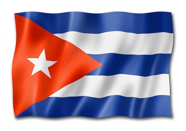 Kubańska flaga na białym tle