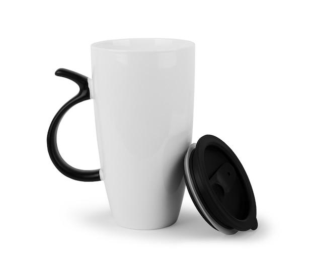 Kubek ceramiczny biały. pojedynczo na białym.