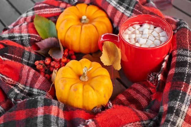 Kubek czerwony z kakao i piankami.