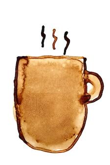 Kubek do kawy z parą naszkicowany w kawie na białym tle na białym tle. ilustracja rastrowa
