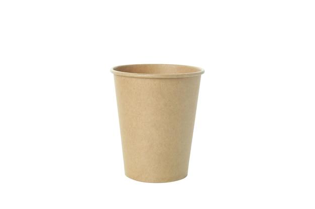 Kubek papierowy pusty na białym tle na białej powierzchni
