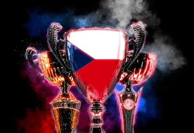 Kubek trofeum teksturowany z flagą republiki czeskiej. cyfrowa ilustracja 2d.