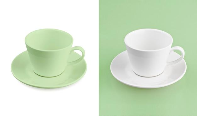 Kubek w biało-zielonym kolorze