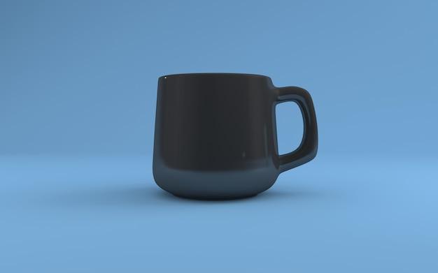 Kubek z węglem drzewnym realistyczny makieta 3d renderowany