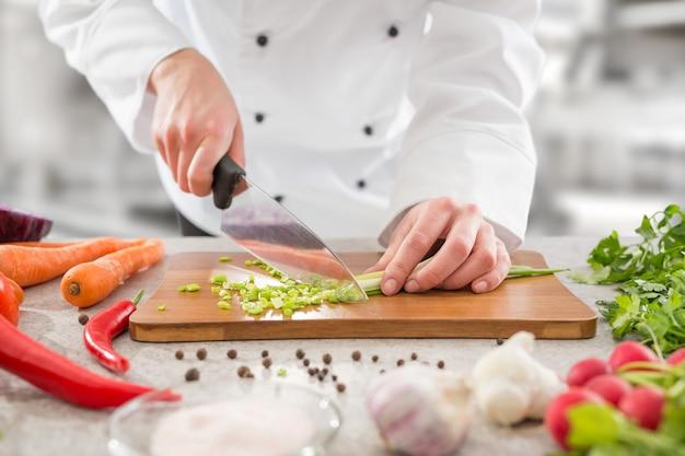 Kucharz gotuje jedzenie kuchnia restauracja cięcia kucharz