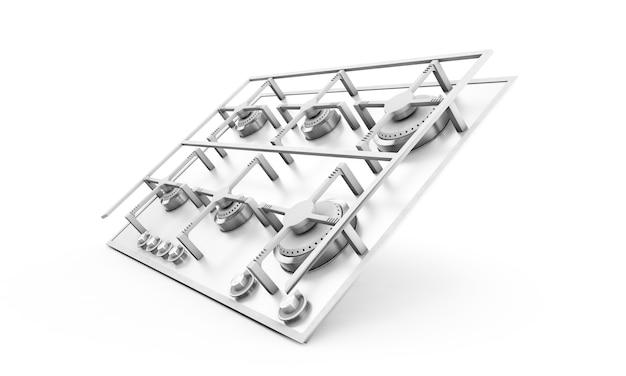 Kuchenka gazowa osadzona szklany metalowy render 3d na białym tle z cieniem