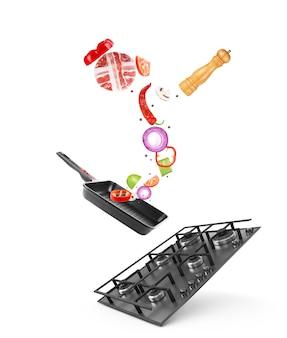 Kuchenka gazowa osadzona w szklanym metalu świeże warzywa latające na patelnię na białym tle