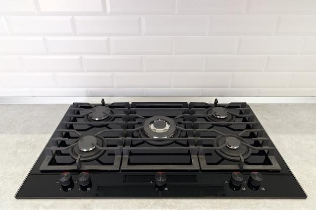 Kuchenka gazowa w kuchni jest zainstalowana w blacie.