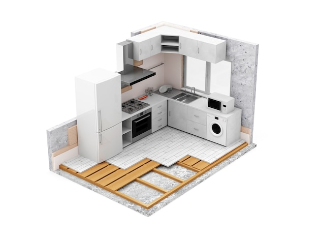 Kuchnia w budowie na biały