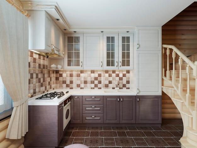 Kuchnia we wnętrzu z bali w nowoczesnym stylu z brązowo-białymi elewacjami